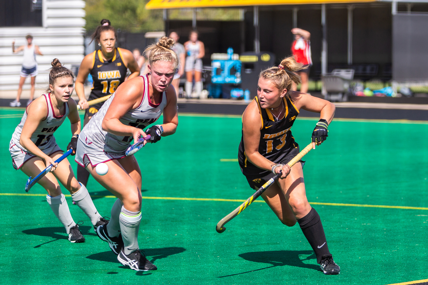 Iowa forward Leah Zellner fights for control of the ball during a field hockey match against Penn on Friday, Sept. 14, 2018. The Hawkeyes defeated the Quakers 3–0.