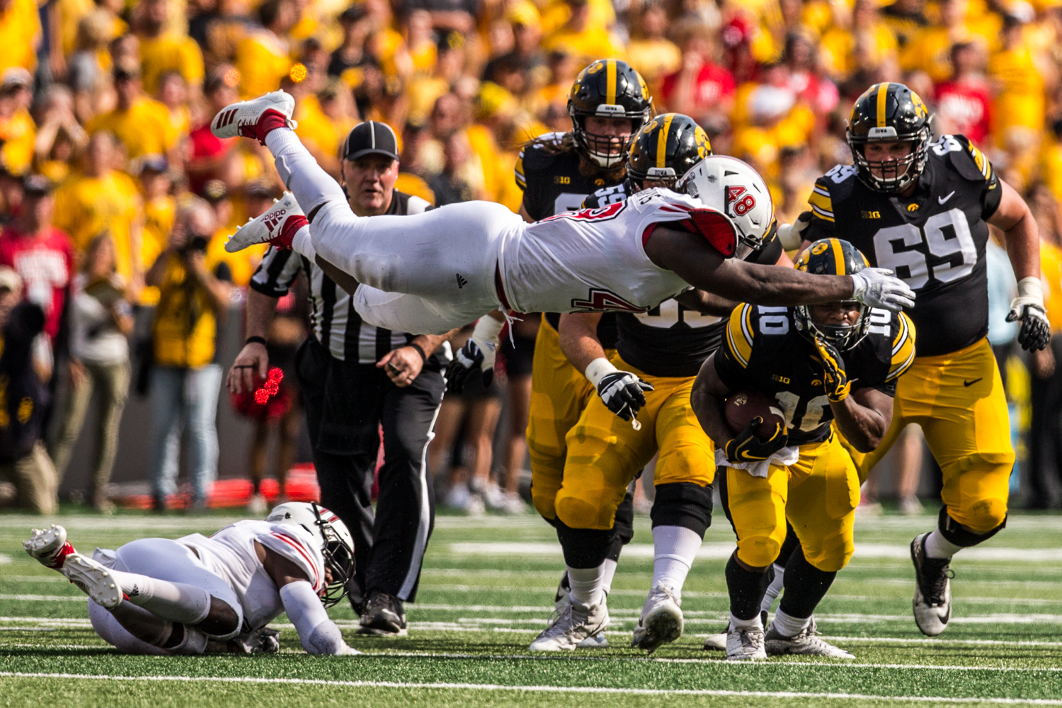 Iowa running back Mehki Sargent carries the ball during Iowa's game against Northern Illinois at Kinnick Stadium on Saturday, September 1, 2018. during Iowa's game against Northern Illinois at Kinnick Stadium on Saturday, September 1, 2018. The Hawkeyes defeated the Huskies 33-7.