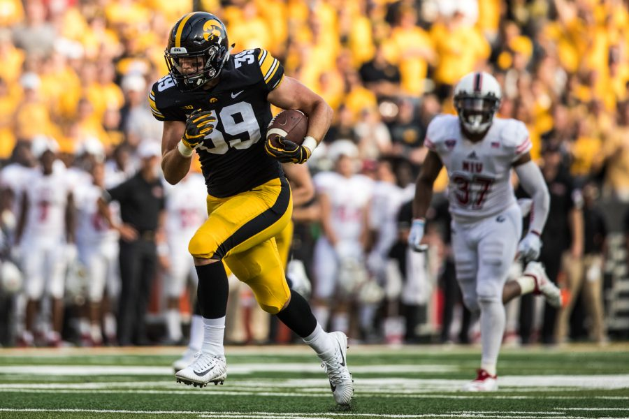 Iowa+tight+end+Nate+Wieting+runs+after+a+catch+during+Iowa%27s+game+against+Northern+Illinois+at+Kinnick+Stadium+on+Saturday%2C+September+1%2C+2018.+during+Iowa%27s+game+against+Northern+Illinois+at+Kinnick+Stadium+on+Saturday%2C+September+1%2C+2018.+The+Hawkeyes+defeated+the+Huskies+33-7.