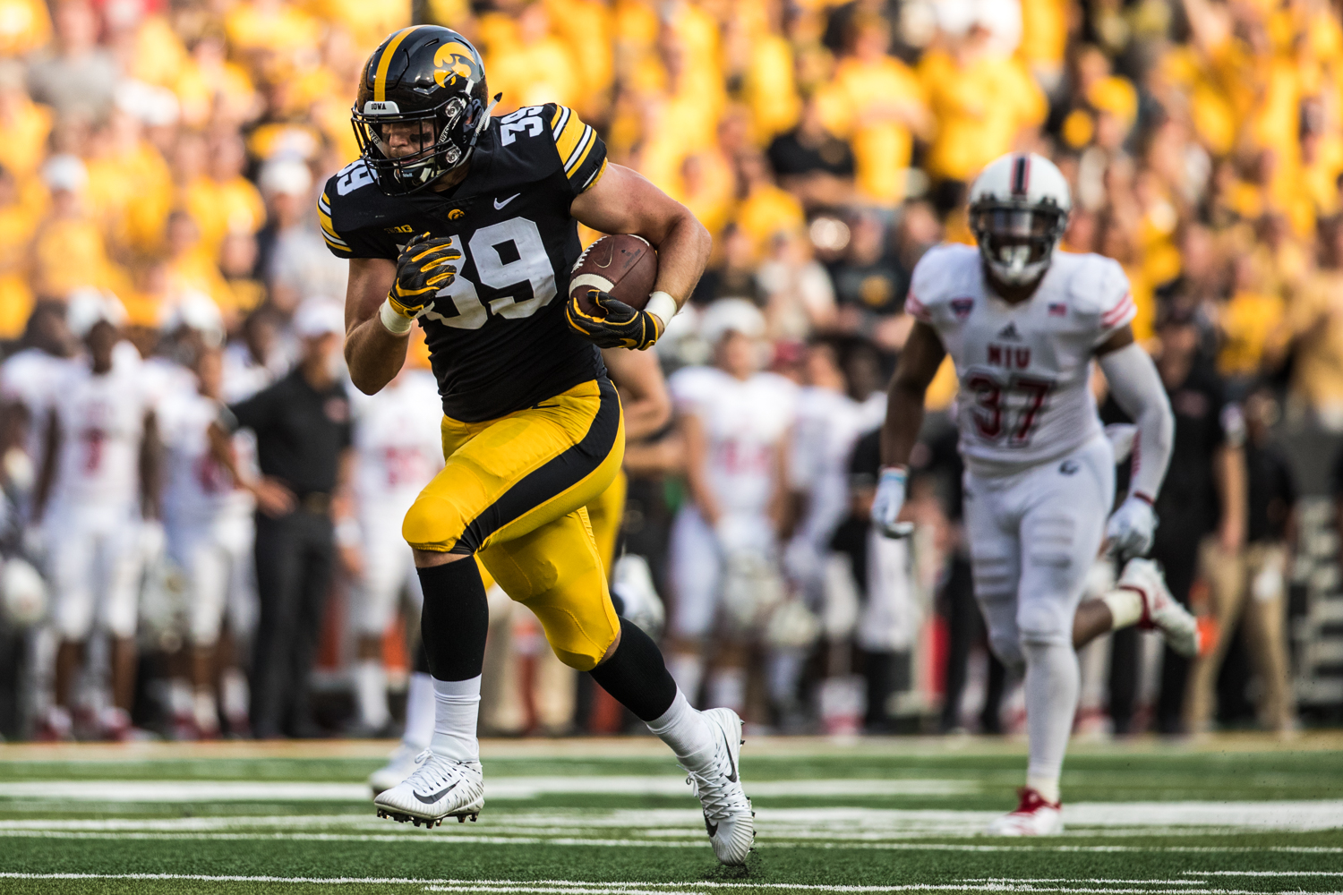 Iowa tight end Nate Wieting runs after a catch during Iowa's game against Northern Illinois at Kinnick Stadium on Saturday, September 1, 2018. during Iowa's game against Northern Illinois at Kinnick Stadium on Saturday, September 1, 2018. The Hawkeyes defeated the Huskies 33-7.