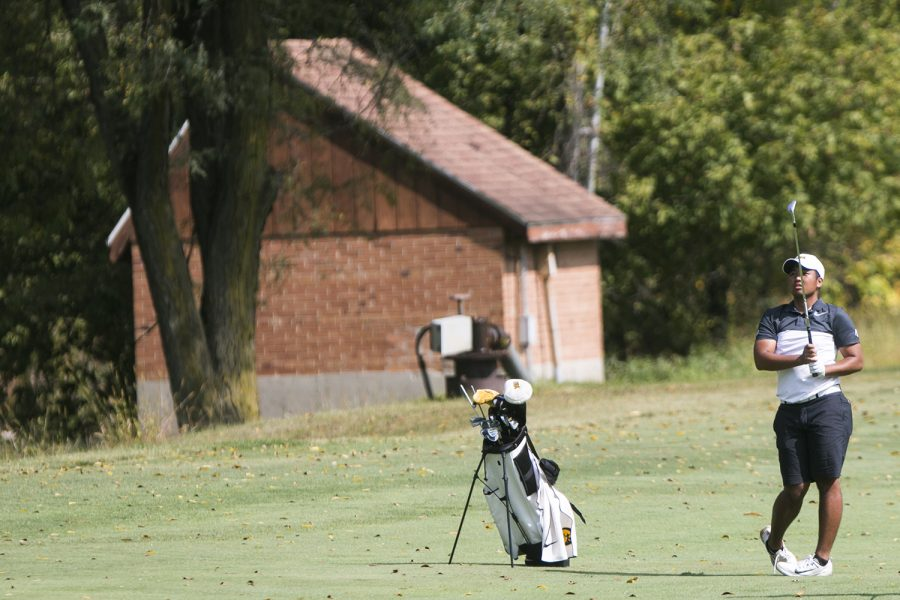 Iowa%27s+Ryoto+Furuya+watches+his+ball+land+on+the+green+after+chipping+during+a+tournament+at+the+Donald+Ross+Course+at+the+Cedar+Rapids+Country+Club+in+Cedar+Rapids+on+Tuesday%2C+Sept.+19%2C+2017.