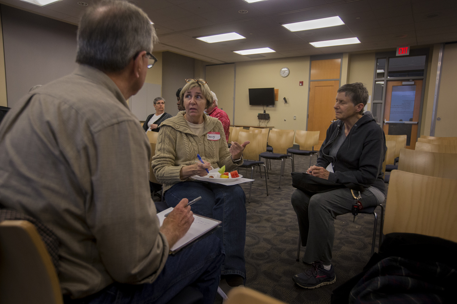 Attendees participate in a group activity during an Iowa City Human Rights Commission event in the Iowa City Public Library on Thursday, October 13, 2016. The event was broken up into two sections, the first focusing on how to engage individuals, and the second on survey result findings from the Iowa City school district.