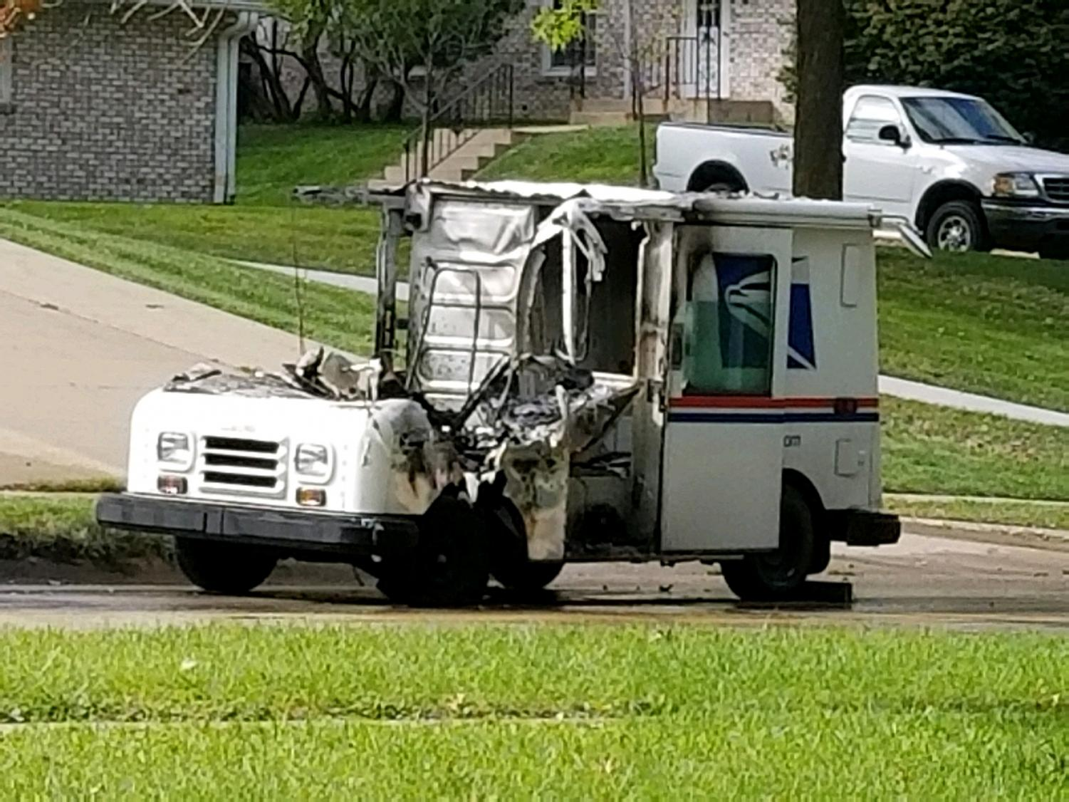 A mail truck is seen after catching fire on Sept. 24 at 2:45 p.m. on N. First Avenue.