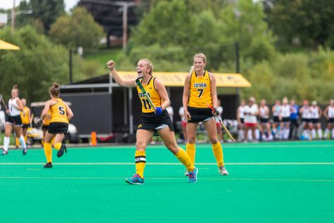 Iowa's Katie Birch celebrates as Iowa scores during a game against Ball State on Sunday, Sep. 2, 2018. The Hawkeyes defeated the Cardinals 7–1.