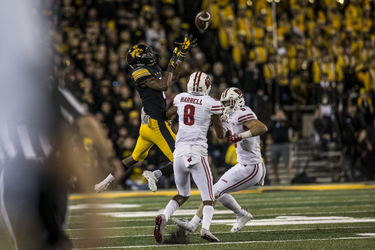 Iowa%27s+Ihmir+Smith-Marsette+jumps+to+attempt+a+catch+during+Iowa%27s+game+against+Wisconsin+at+Kinnick+Stadium+on+Saturday%2C+September+22%2C+2018.+The+Badgers+defeated+the+Hawkeyes+28-17.