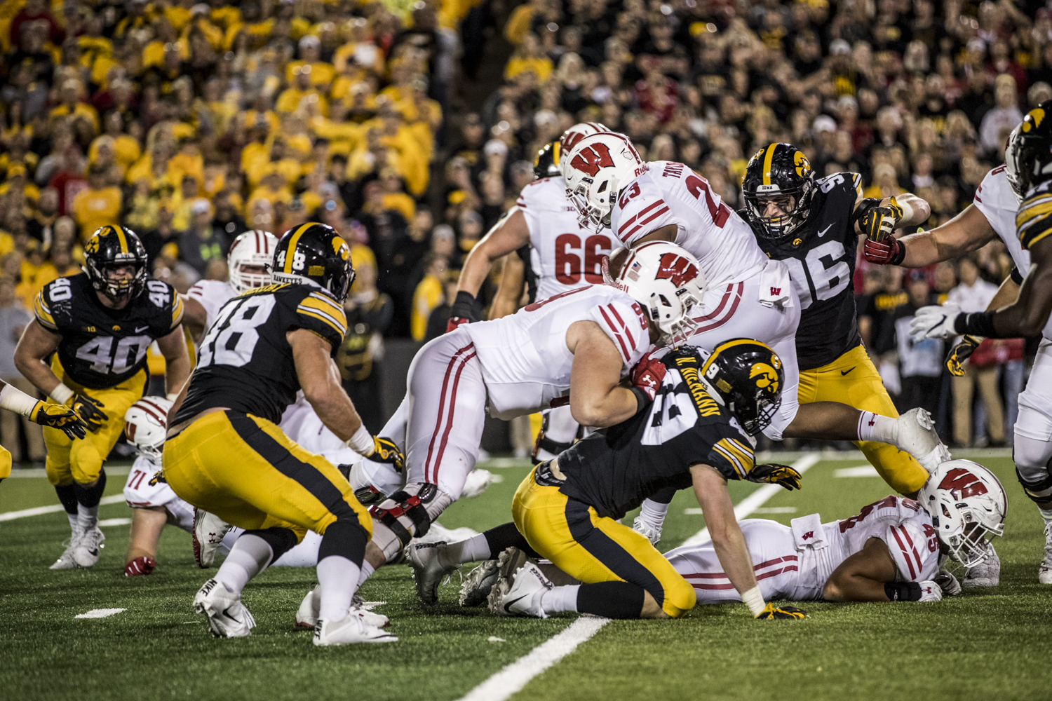 Wisconsin running back Jonathan Taylor carries the ball during Iowa's game against Wisconsin at Kinnick Stadium on Saturday, September 22, 2018. The Badgers defeated the Hawkeyes 28-17.