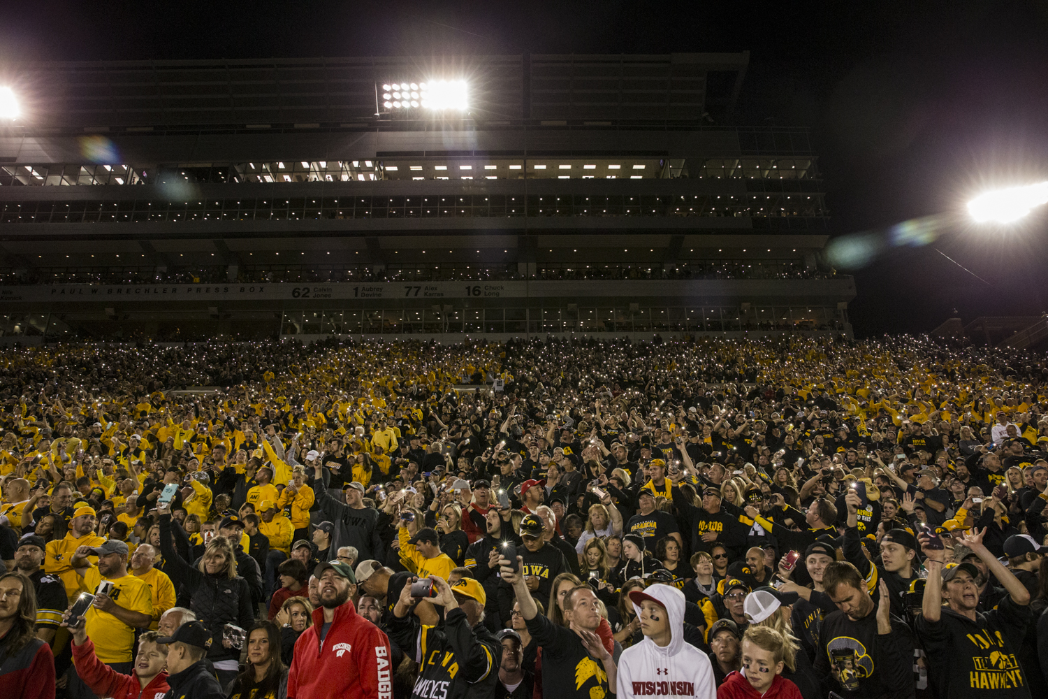 Iowa+fans+dance+to+%22Hypnotize%22+by+The+Notorious+B.I.G.+during+Iowa%27s+game+against+Wisconsin+at+Kinnick+Stadium+on+Saturday%2C+September+22%2C+2018.+The+Badgers+defeated+the+Hawkeyes+28-17.
