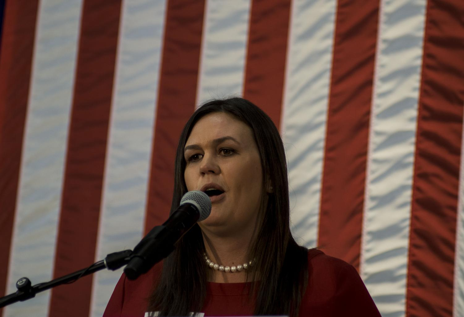 Sarah Huckabee Sanders speaks at the Second Annual Harvest Festival on Saturday, October 13, 2018. The event was a fund raiser for current governor Kim Reynolds.