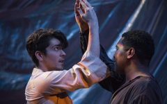 UI students Michael Juarez (left) and Octavius Lanier (right) perform a dance during the LoveBird play rehearsal in the Theater Building on Tuesday, October 16, 2018. LoveBird, by K.T Peterson and directed by Erica Vannon, features castaways Nigel and Norman as they struggle with life on the island and struggle with their increasingly complicated relationship.