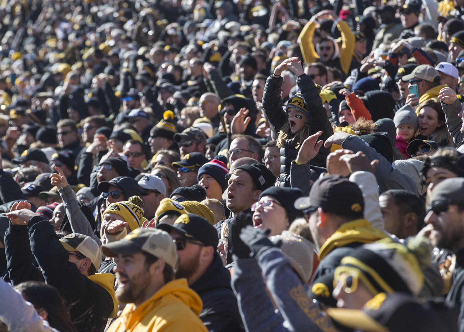 Fans+spectate+during+the+Iowa+vs.+Maryland+game+at+Kinnick+stadium+on+Saturday+Oct.+20%2C+2018.+The+Hawkeyes+defeated+the+Terrapins+23-0.+