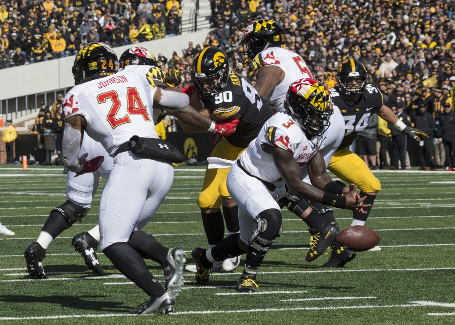 Terrapin+Tyrrell+Pigrome+fumbles+the+ball+during+the+Iowa+vs.+Maryland+game+at+Kinnick+stadium+on+Saturday+Oct.+20%2C+2018.+The+Hawkeyes+defeated+the+Terrapins+23-0.