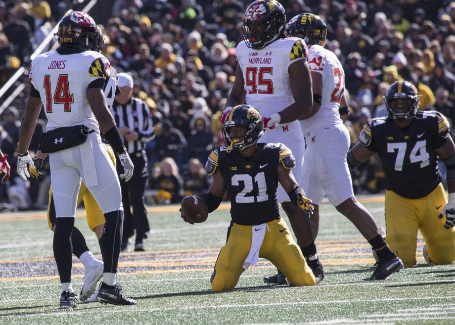 Ivory+Kelly-Martin+smiles+after+getting+a+first+down+during+the+Iowa+vs.+Maryland+game+at+Kinnick+stadium+on+Saturday+Oct.+20%2C+2018.+The+Hawkeyes+defeated+the+Terrapins+23-0.+