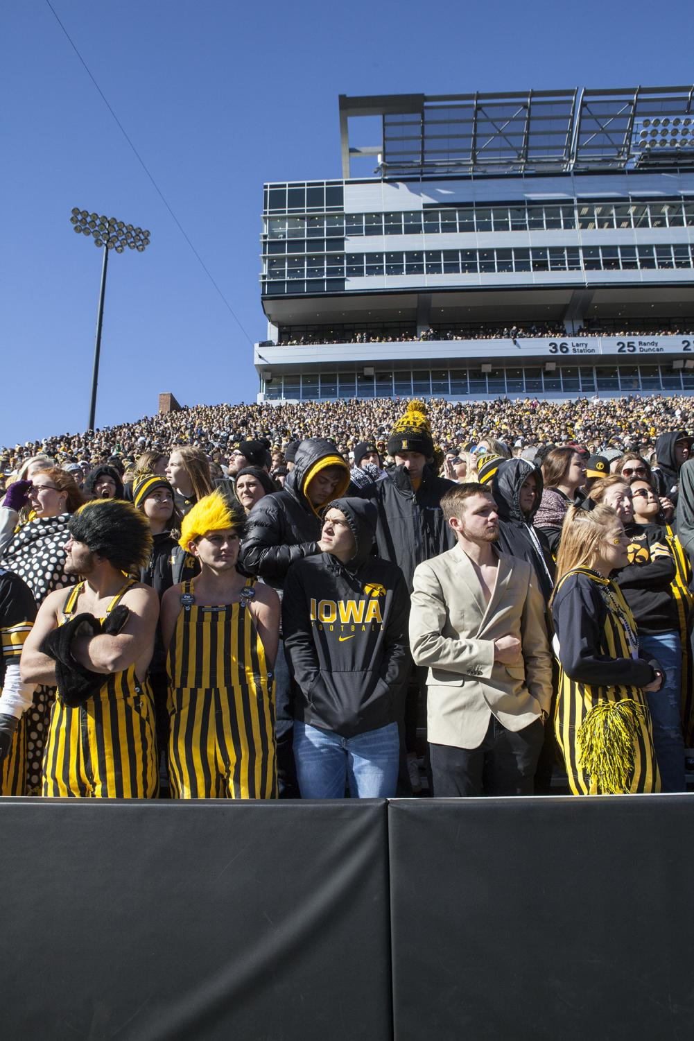 Fans+spectate+during+the+Iowa+vs.+Maryland+game+at+Kinnick+stadium+on+Saturday+Oct.+20%2C+2018.+The+Hawkeyes+defeated+the+Terrapins+23-0.