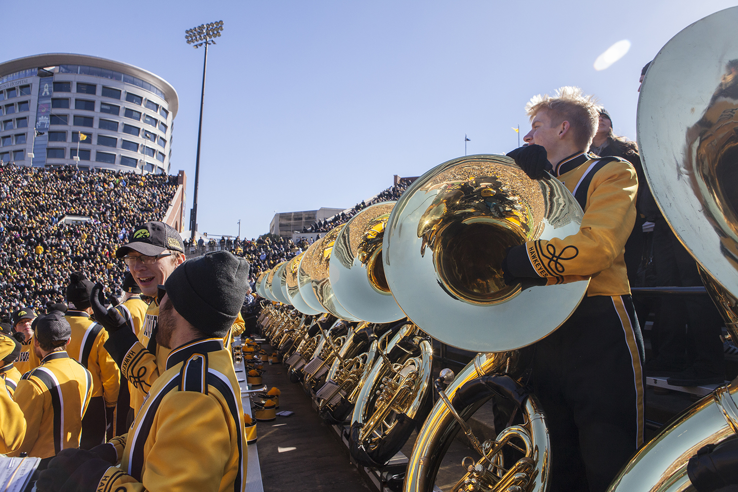 Members+of+the+band+pause+from+playing+during+the+Iowa+vs.+Maryland+game+at+Kinnick+stadium+on+Saturday+Oct.+20%2C+2018.+The+Hawkeyes+defeated+the+Terrapins+23-0.