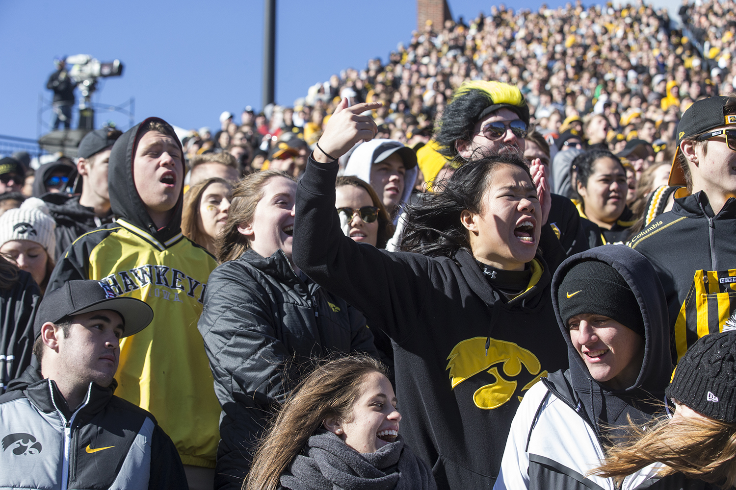 Fans spectate during the Iowa vs. Maryland game at Kinnick Stadium on Saturday Oct. 20, 2018. The Hawkeyes defeated the Terrapins 23-0.