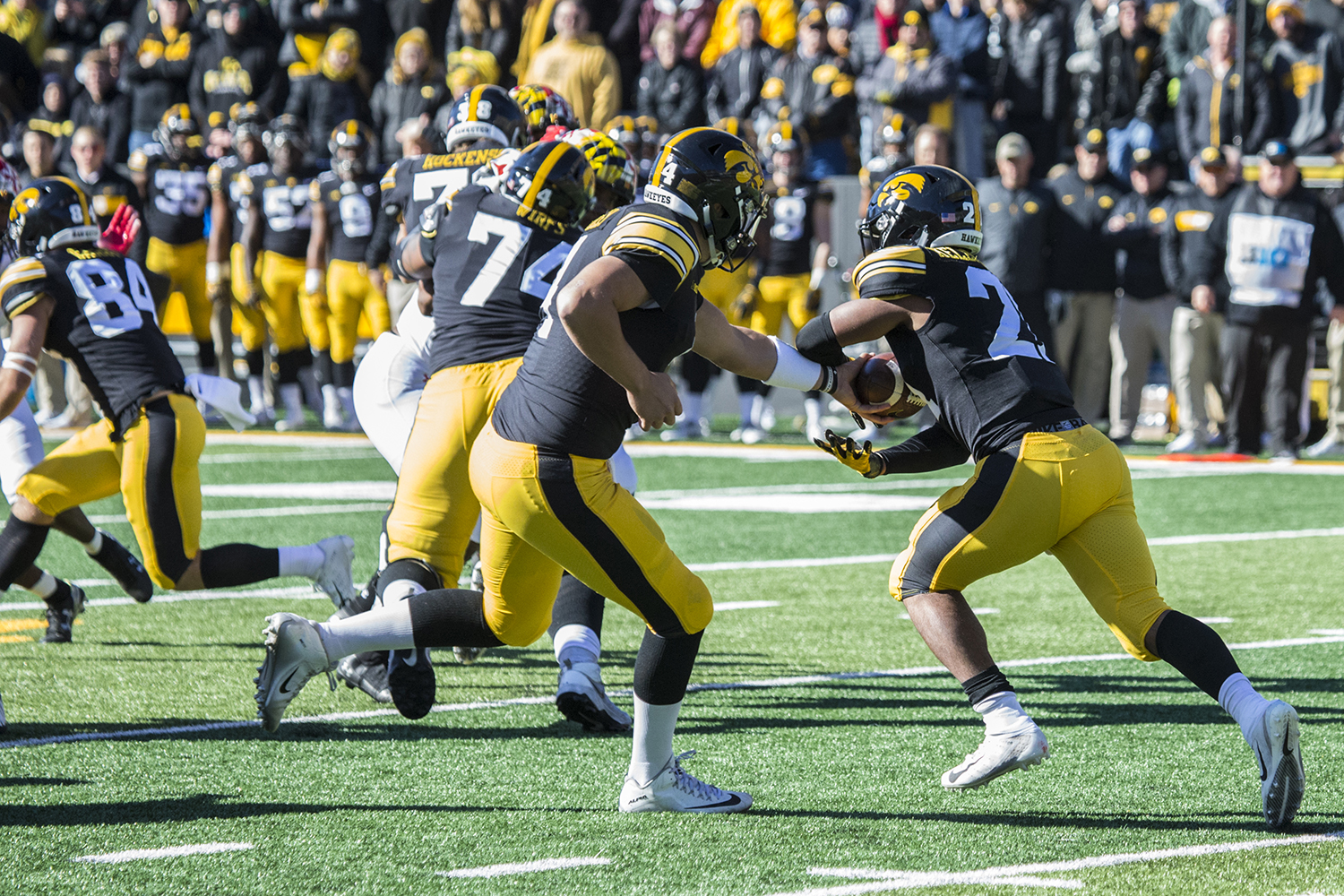 Iowa+quarterback+Nate+Stanley+hands+the+ball+off+to+running+back+Ivory+Kelley-Martin+during+a+football+game+between+Iowa+and+Maryland+in+Kinnick+Stadium+on+Saturday%2C+October+20%2C+2018.+The+Hawkeyes+defeated+the+Terrapins%2C+23-0.+