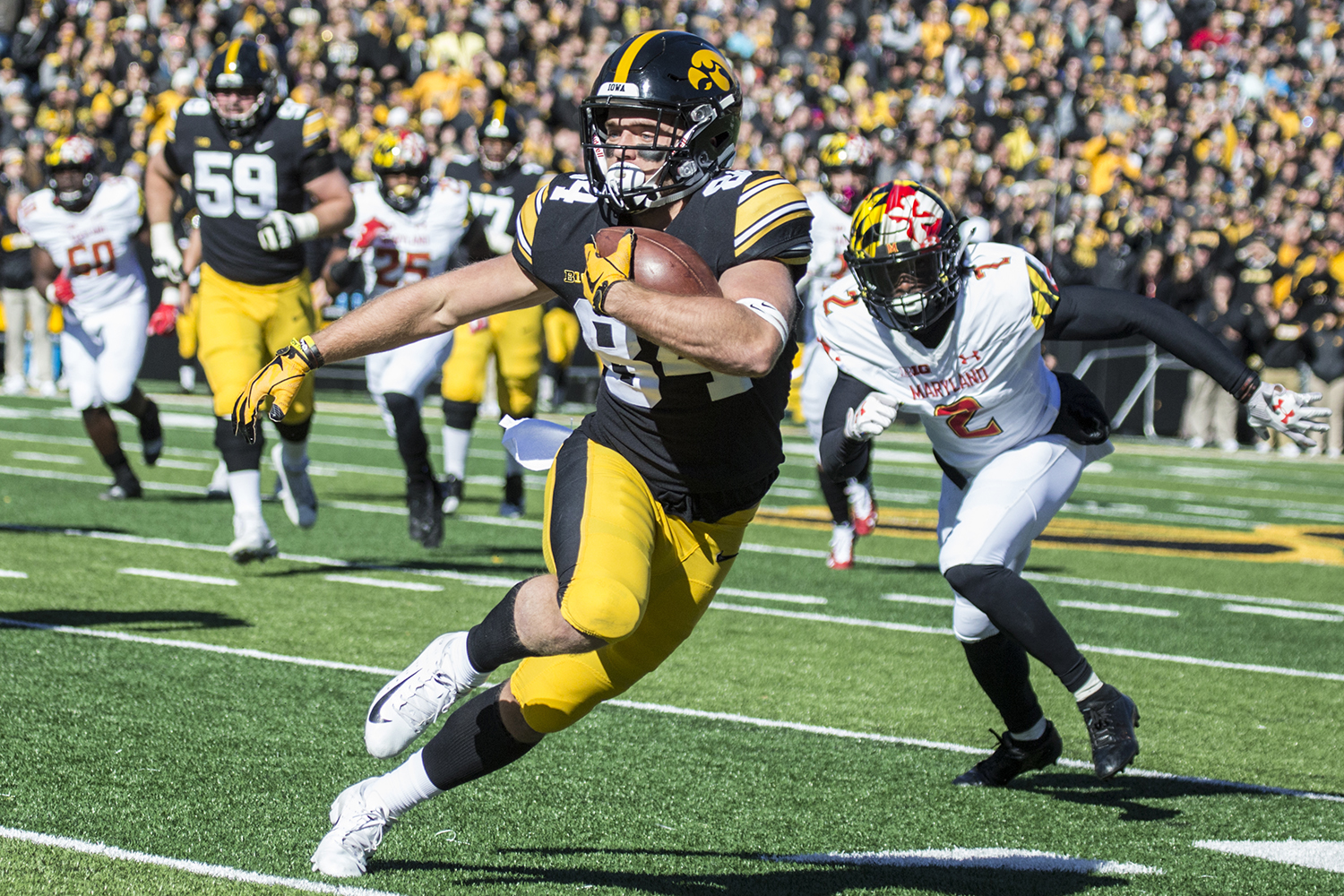 Iowa+wide+receiver+Nick+Easley+navigates+the+defense+during+a+football+game+between+Iowa+and+Maryland+in+Kinnick+Stadium+on+Saturday%2C+October+20%2C+2018.+The+Hawkeyes+defeated+the+Terrapins%2C+23-0.+