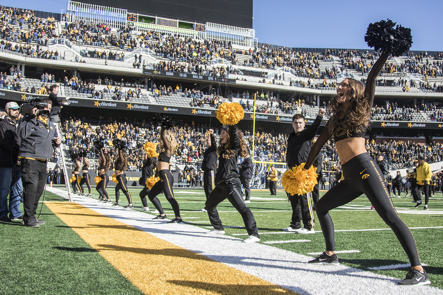 Iowa+cheer+teams+perform+during+a+football+game+between+Iowa+and+Maryland+in+Kinnick+Stadium+on+Saturday%2C+October+20%2C+2018.+The+Hawkeyes+defeated+the+Terrapins%2C+23-0.+