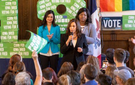 Sen. Kamala Harris debuts in Iowa City ahead of midterms
