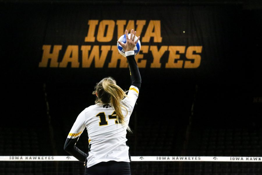Junior+Cali+Home+serves+the+ball+during+the+Iowa+Volleyball+game+against+Northwestern+at+Carver-Hawkeye+Arena+in+Iowa+City+on+Wednesday%2C+Oct.+25%2C+2018.+Northwestern+defeated+Iowa+3-2.+