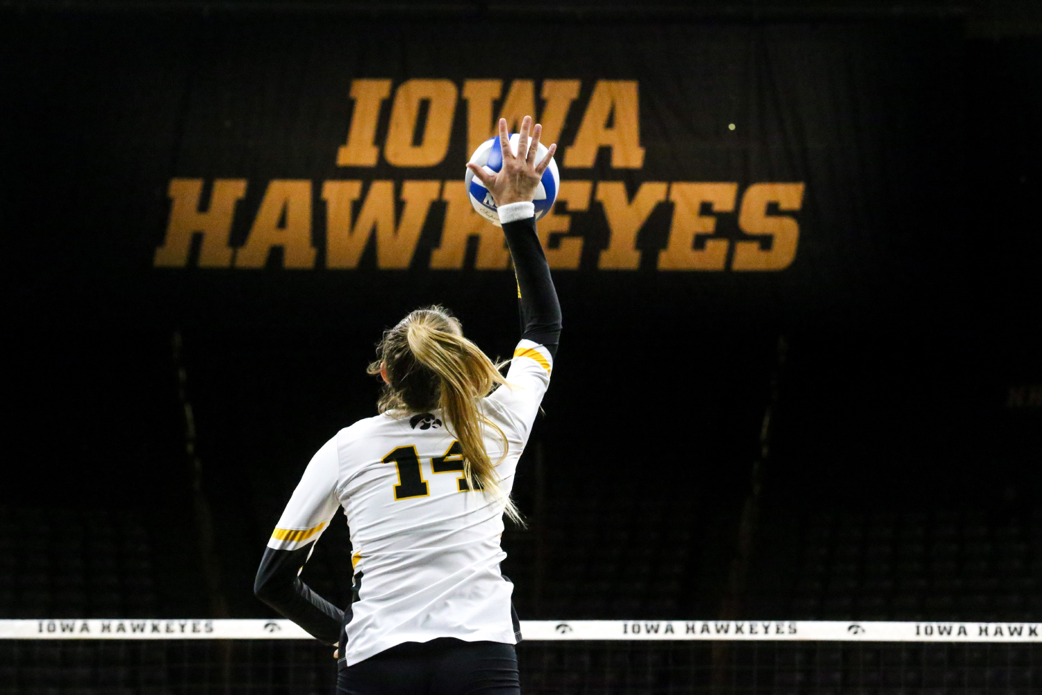 Junior Cali Home serves the ball during the Iowa Volleyball game against Northwestern at Carver-Hawkeye Arena in Iowa City on Wednesday, Oct. 25, 2018. Northwestern defeated Iowa 3-2.