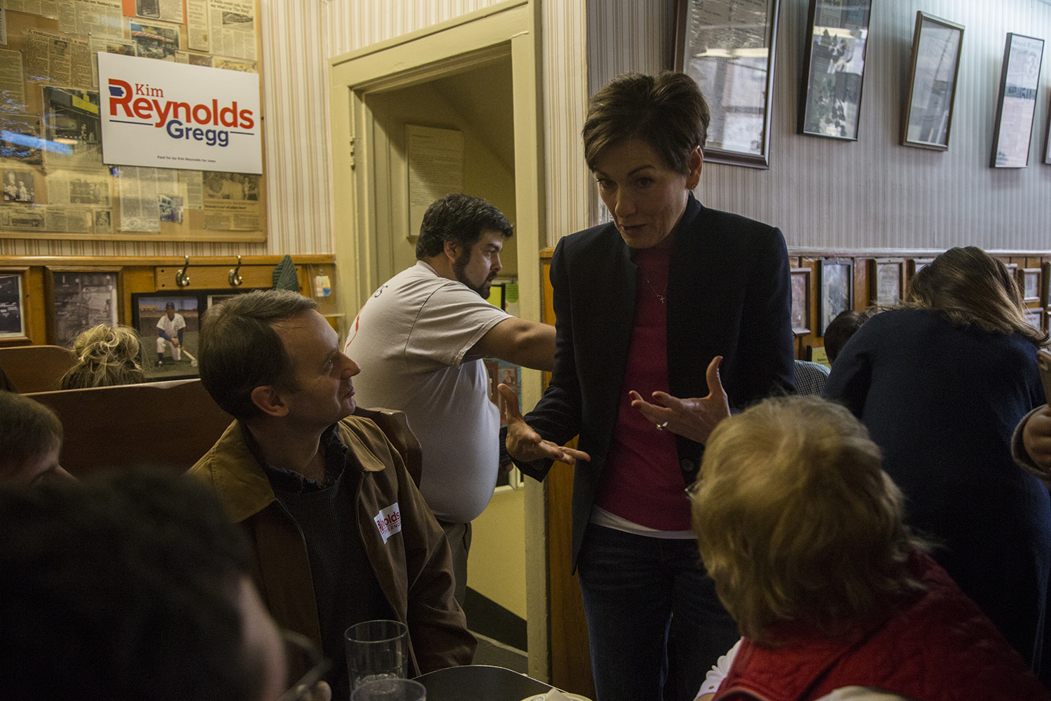 Kim Reynolds addresses supporters during her visit to the Hamburg Inn in Iowa City on Thursday Oct. 25, 2018. Reynolds visited with fans and addressed media questions about the upcoming elections.
