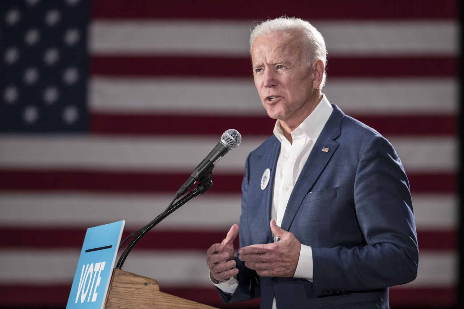 Former Vice President Joe Biden speaks during the Cedar Rapids Early Vote Rally at the Veterans Memorial Building in Cedar Rapids on Tuesday, October 30, 2018. The event featured remarks from Iowa Democratic Candidate for Governor Fred Hubbell, Iowa First Congressional District candidate Abby Finkenauer, and former Vice President Joe Biden.