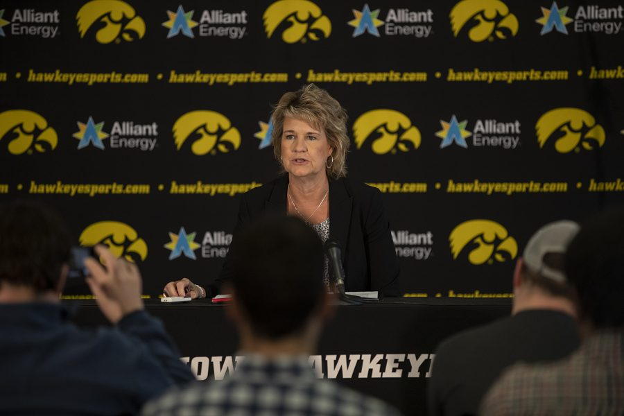 Head+Coach+Lisa+Bluder+addresses+the+press+during+the+women%27s+basketball+media+day+at+Carver-Hawkeye+Arena+on+Wednesday+Oct.+31%2C+2018.+Bluder+discussed+the+expected+success+of+the+team%2C+as+well+as+senior+Megan+Gustafson+and+various+new+freshman.+