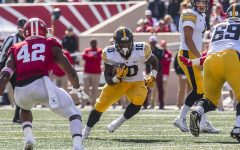 Iowa running back Mekhi Sargent carries the ball during Iowas game at Indiana at Memorial Stadium in Bloomington on Saturday, Oct. 13, 2018. The Hawkeyes beat the Hoosiers 42-16.