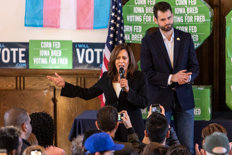 Sen. Kamala Harris (D-CA) addresses a rally at Old Brick in Iowa City on Tuesday, Oct. 23, 2018