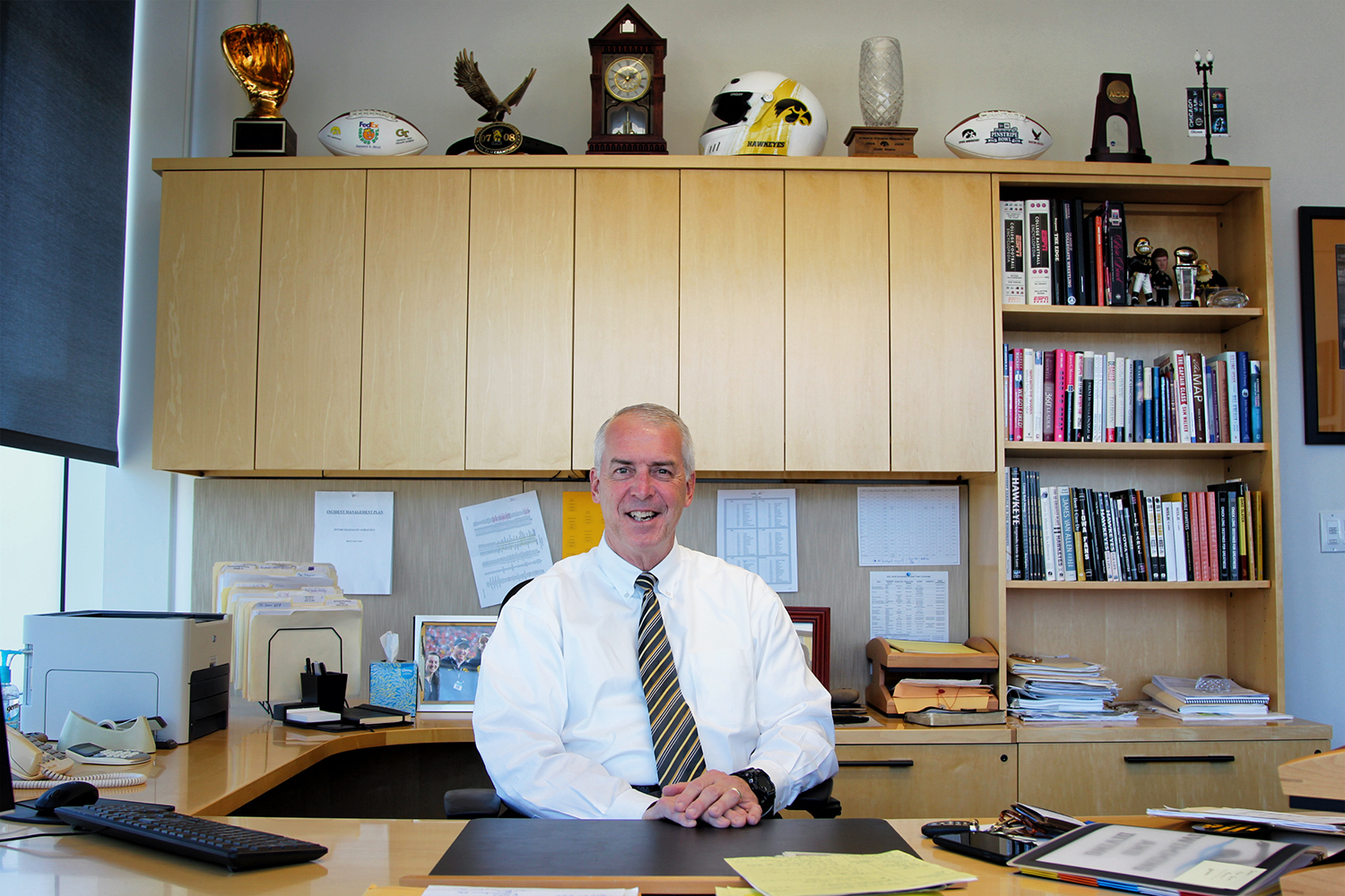 Iowa Athletic Director Gary Barta sits at his desk on Oct. 17.