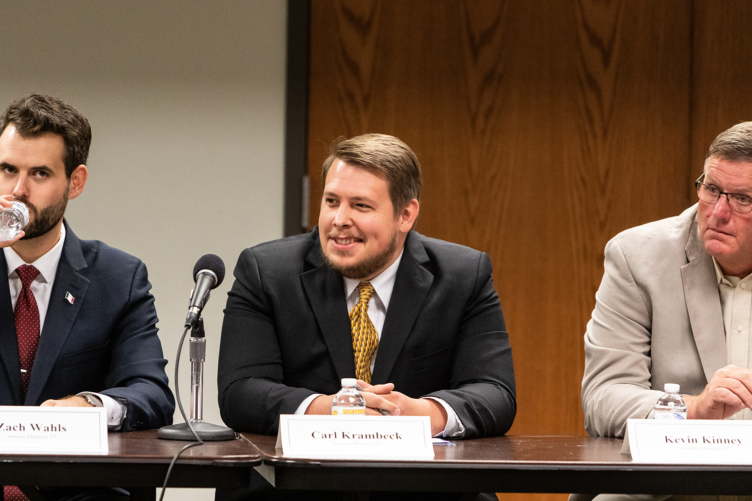 Carl Krambeck, the Libertarian Candidate for Iowa State Senate District 37, participates in a public forum at the Coralville Public Library on Monday, Sept. 10, 2018.