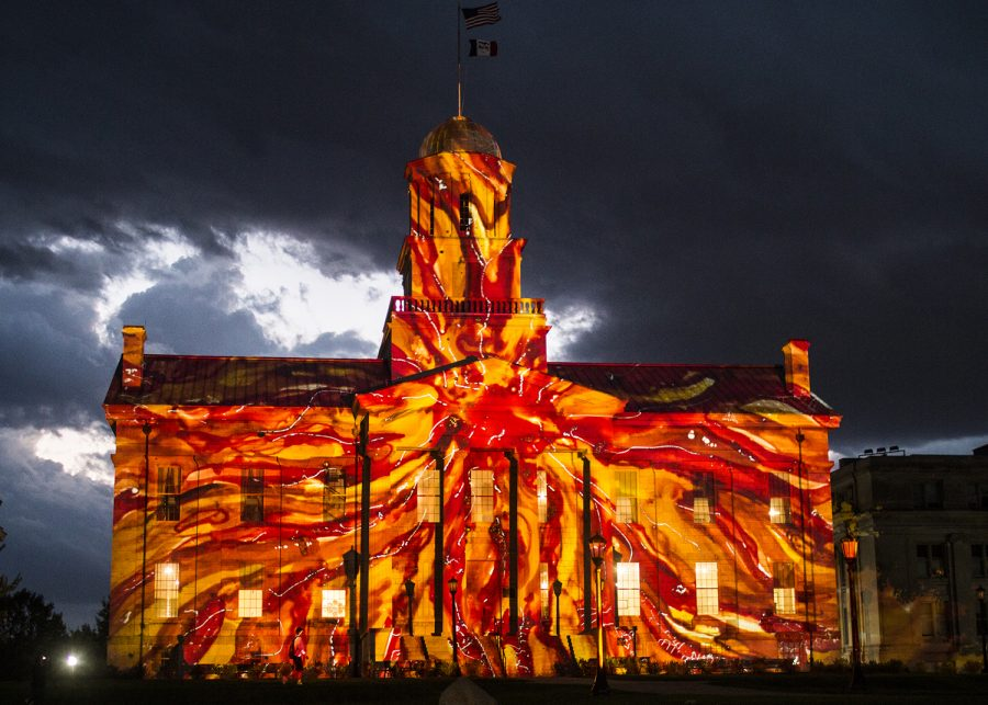 The+Old+Capitol+building+is+seen+on+Wednesday%2C+October+3%2C+2018.+International+light+artist+Gerry+Hofstetter+chose+the+building+as+a+backdrop+to+feature+artwork+included+in+his+%E2%80%9CLight+Art+Grand+Tour+USA.%E2%80%9D+