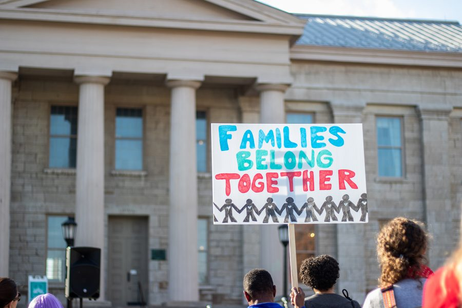 Community+members+partake+in+an+immigration+reform+rally+at+the+Pentacrest+on+Oct.+27%2C+2018.+Iowans+who+have+been+negatively+impacted+by+immigration+shared+their+stories+during+the+rally.