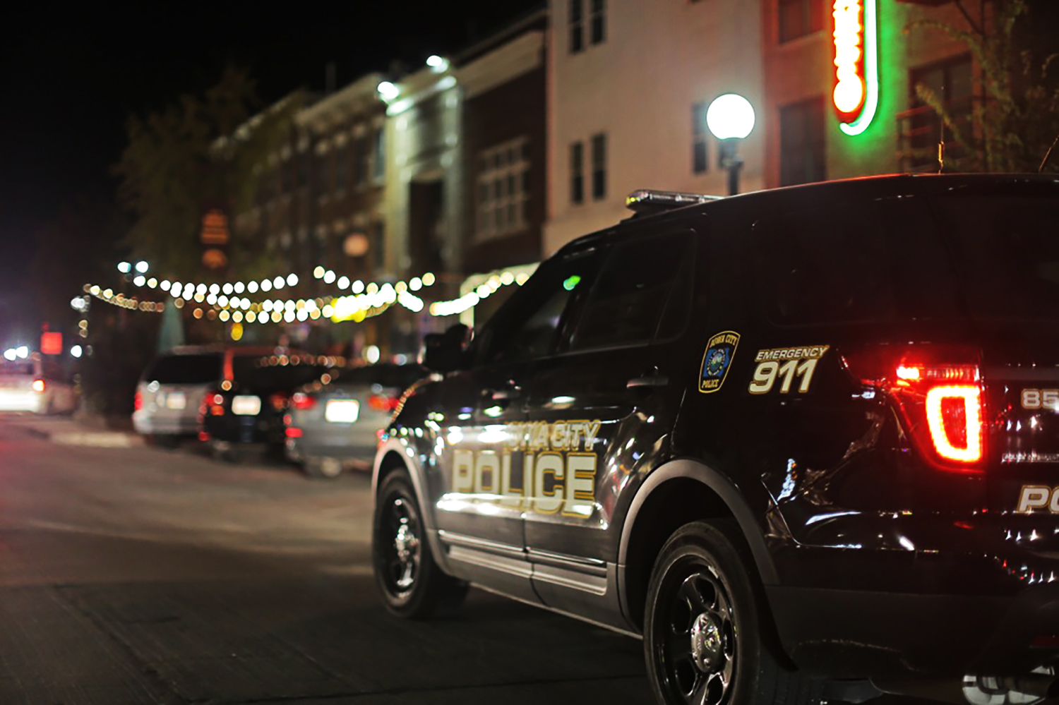 Police patrol the city on homecoming night Friday October 9, 2015. (The Daily Iowan/Jordan Gale)
