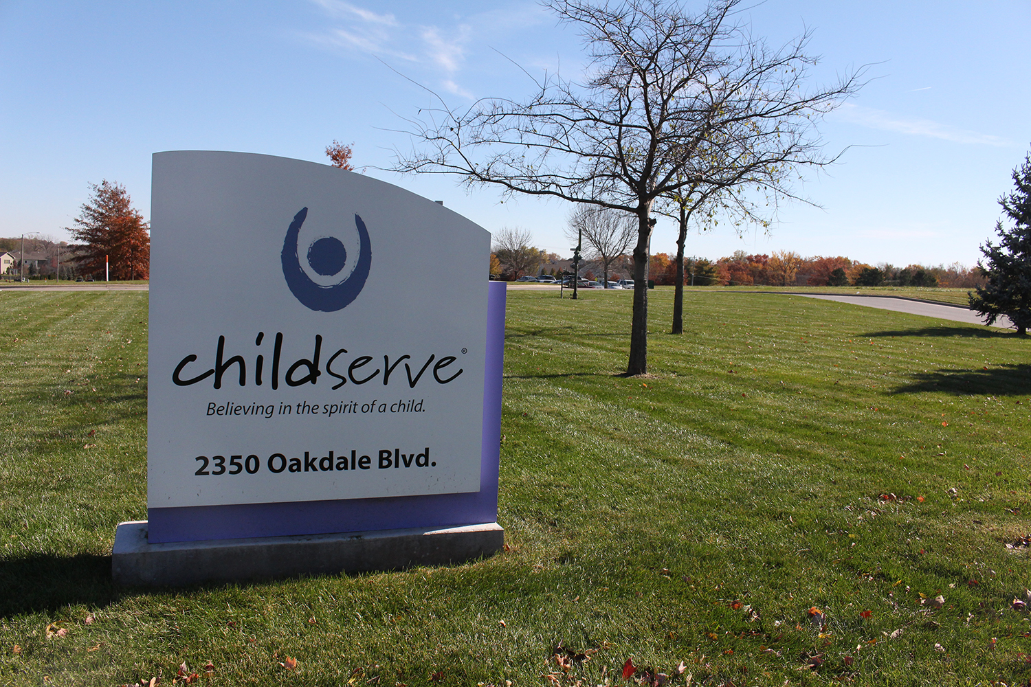 The ChildServe sign is seen in Coralville.