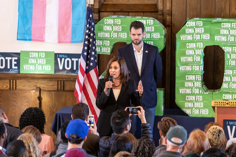 Sen. Kamala Harris, D-Calif., addresses a rally at Old Brick in Iowa City on Tuesday, Oct. 23, 2018
