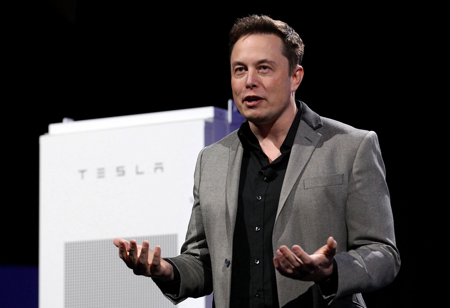 Tesla CEO Elon Musk on April 30, 2015 during an event at Tesla's plant in Hawthorne, California.  (Luis Sinco/Los Angeles Times/TNS)