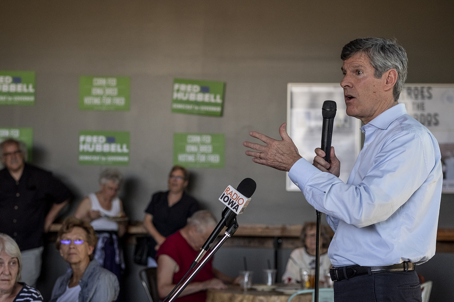 Iowa gubernatorial candidate Fred Hubbell speaks at a campaign event at the Big Grove Brewery in Iowa City on June 3.