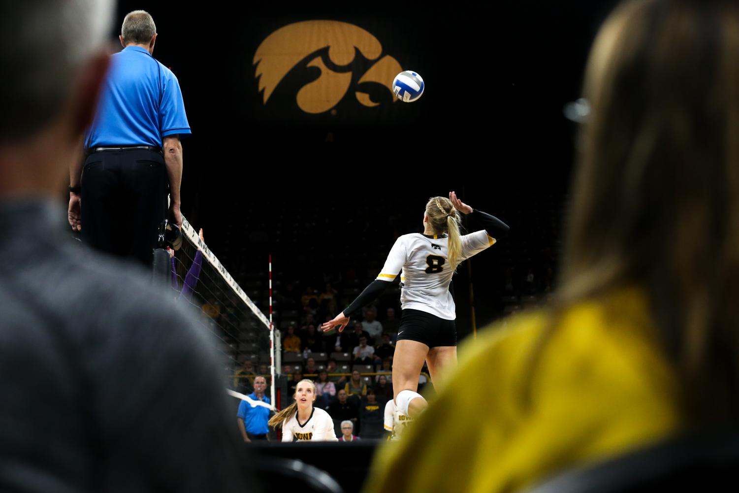 Reghan Coyle spikes the ball during the Iowa Volleyball game against Northwestern at Carver-Hawkeye Arena in Iowa City on Wednesday, Oct. 25, 2018. Northwestern defeated Iowa 3-2.