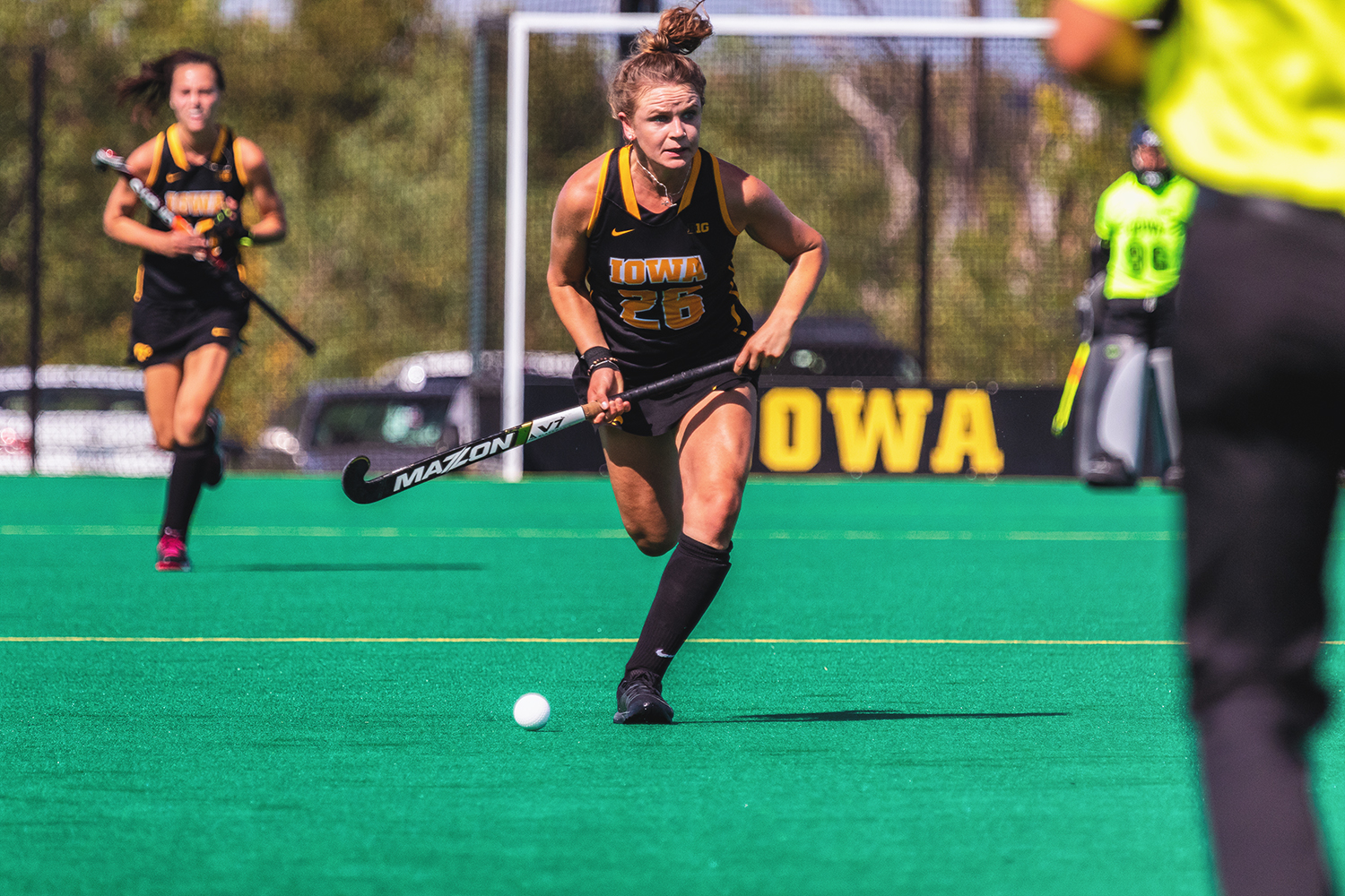 Iowa forward Maddy Murphy pushes the ball upfield during a field hockey match against Penn on Friday, Sep. 14, 2018. The Hawkeyes defeated the Quakers 3–0. (David Harmantas/The Daily Iowan)
