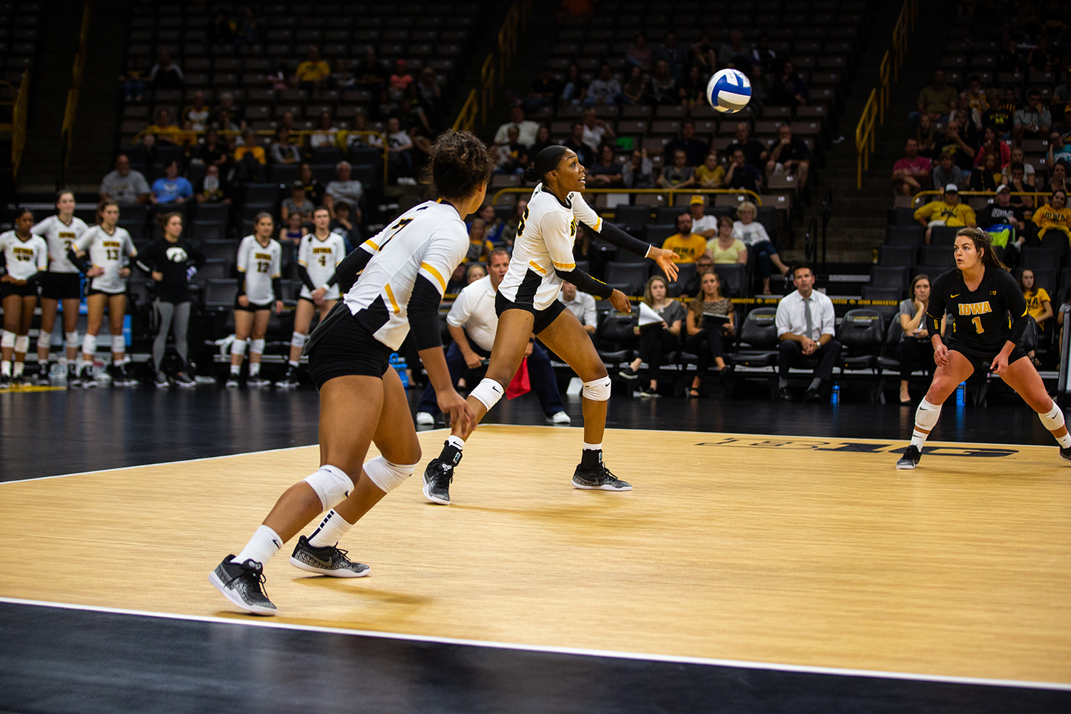 Taylor Louis keeps the ball in play during Iowa's match against Michigan at Carver-Hawkeye Arena on Sept. 23, 2018.