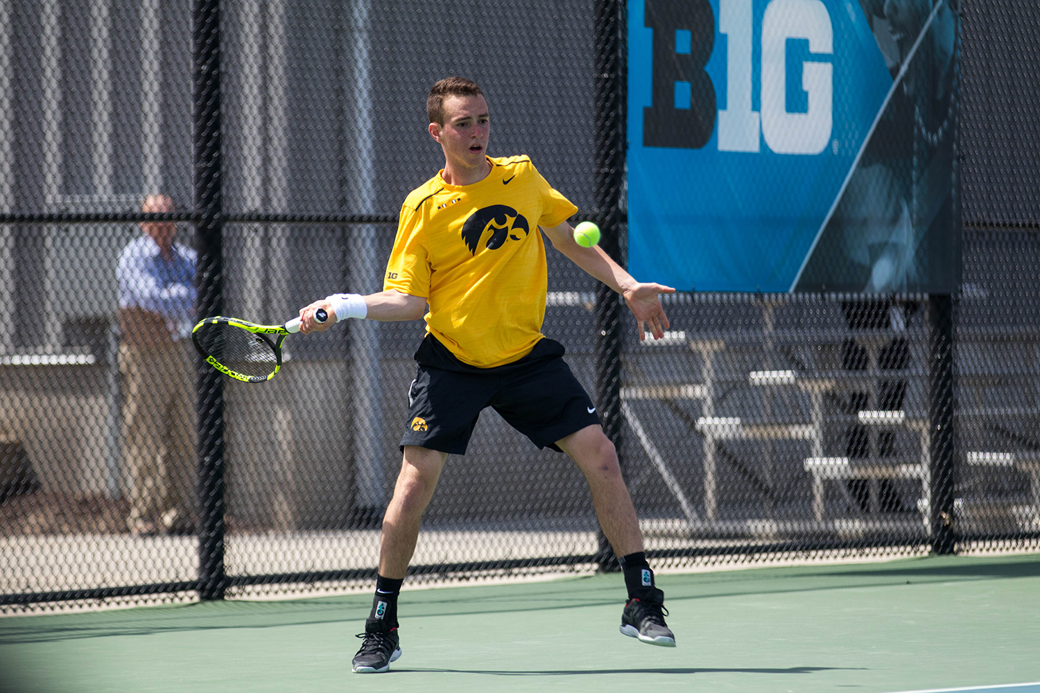 Kareem Allaf hits a forehand during the first round of the Men's Big Ten Tennis Tournament at the HTRC on April 26, 2018.