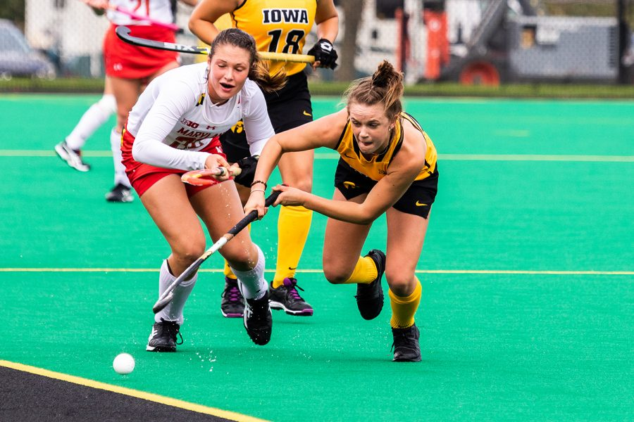 Iowa+forward+Maddy+Murphy+chases+the+ball+to+the+sideline+during+a+field+hockey+match+against+Maryland+on+Sunday%2C+Oct.+14%2C+2018.+The+no.+2+ranked+Terrapins+defeated+the+no.+8+ranked+Hawkeyes+2-1.+