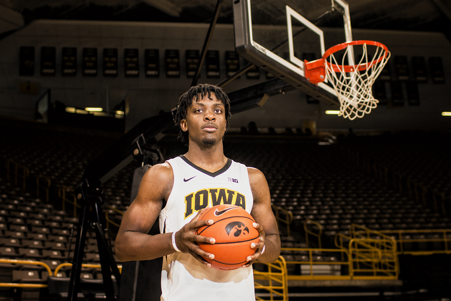 Iowa forward Tyler Cook poses for a portrait during Iowa men's basketball Media Day at Carver-Hawkeye Arena on Monday, Oct. 8, 2018. The team's first game will be against Guilford College on Nov. 4.