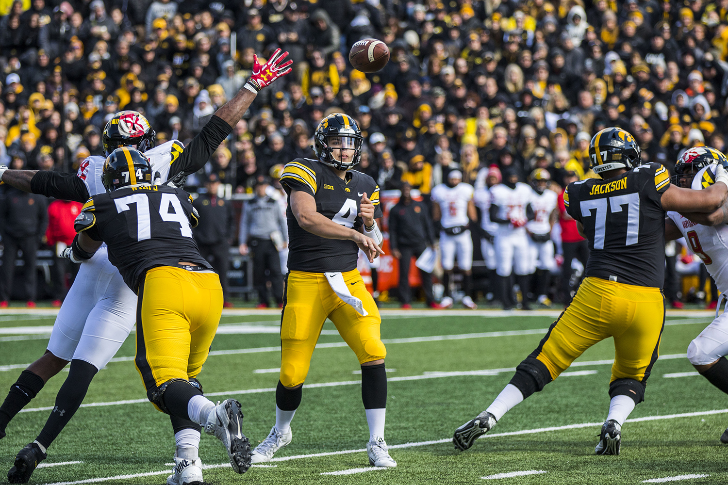 Iowa quarterback Nate Stanley throws a pass during the Iowa/Maryland homecoming football game at Kinnick Stadium on Saturday, Oct. 20, 2018. The Hawkeyes defeated the Terrapins, 23-0.