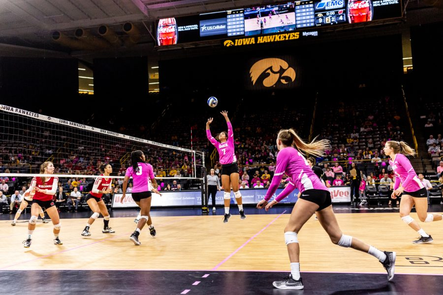 Iowa%27s+Brie+Orr+sets+the+ball+during+a+volleyball+match+against+Wisconsin+on+Saturday%2C+Oct.+6%2C+2018.+The+Hawkeyes+defeated+the+number+six+ranked+Badgers+3-2.+
