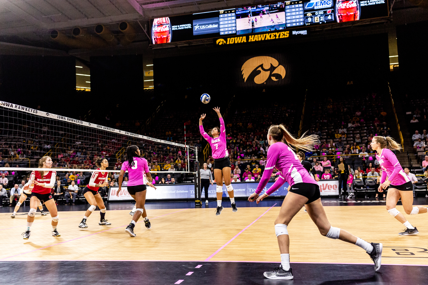 Iowa's Brie Orr sets the ball during a volleyball match against Wisconsin on Saturday, Oct. 6, 2018. The Hawkeyes defeated the number six ranked Badgers 3-2.