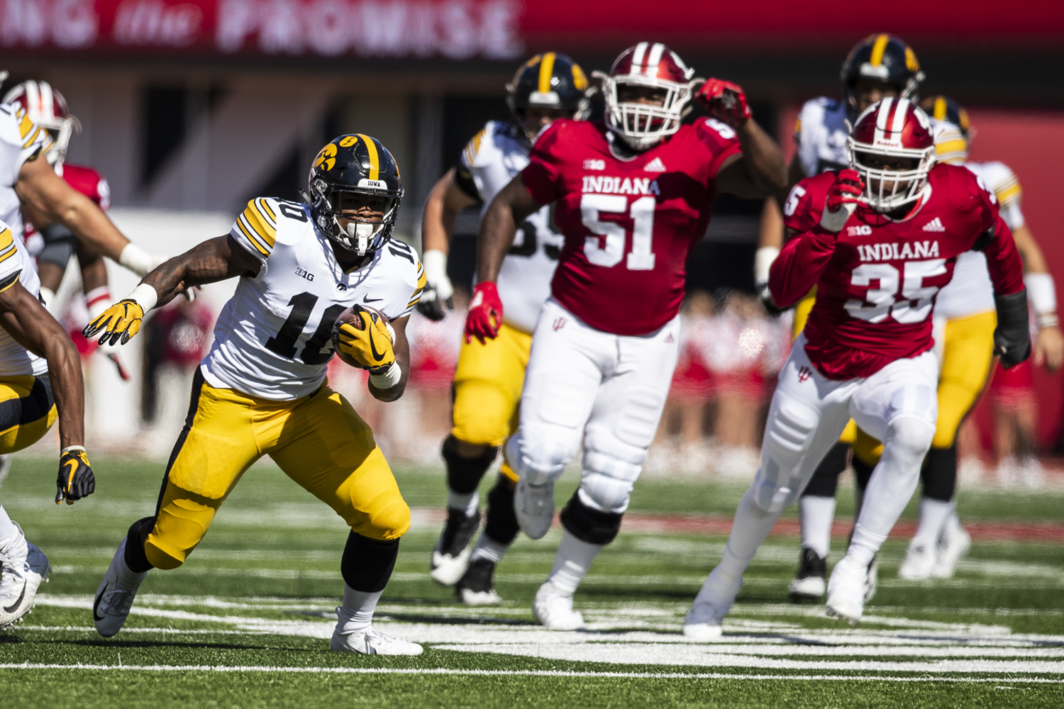 Iowa running back Mekhi Sargent carries the ball during Iowa's game against Indiana at Memorial Stadium in Bloomington on Saturday, October 13, 2018. The Hawkeyes lead the Hoosiers 21-10 at the half.