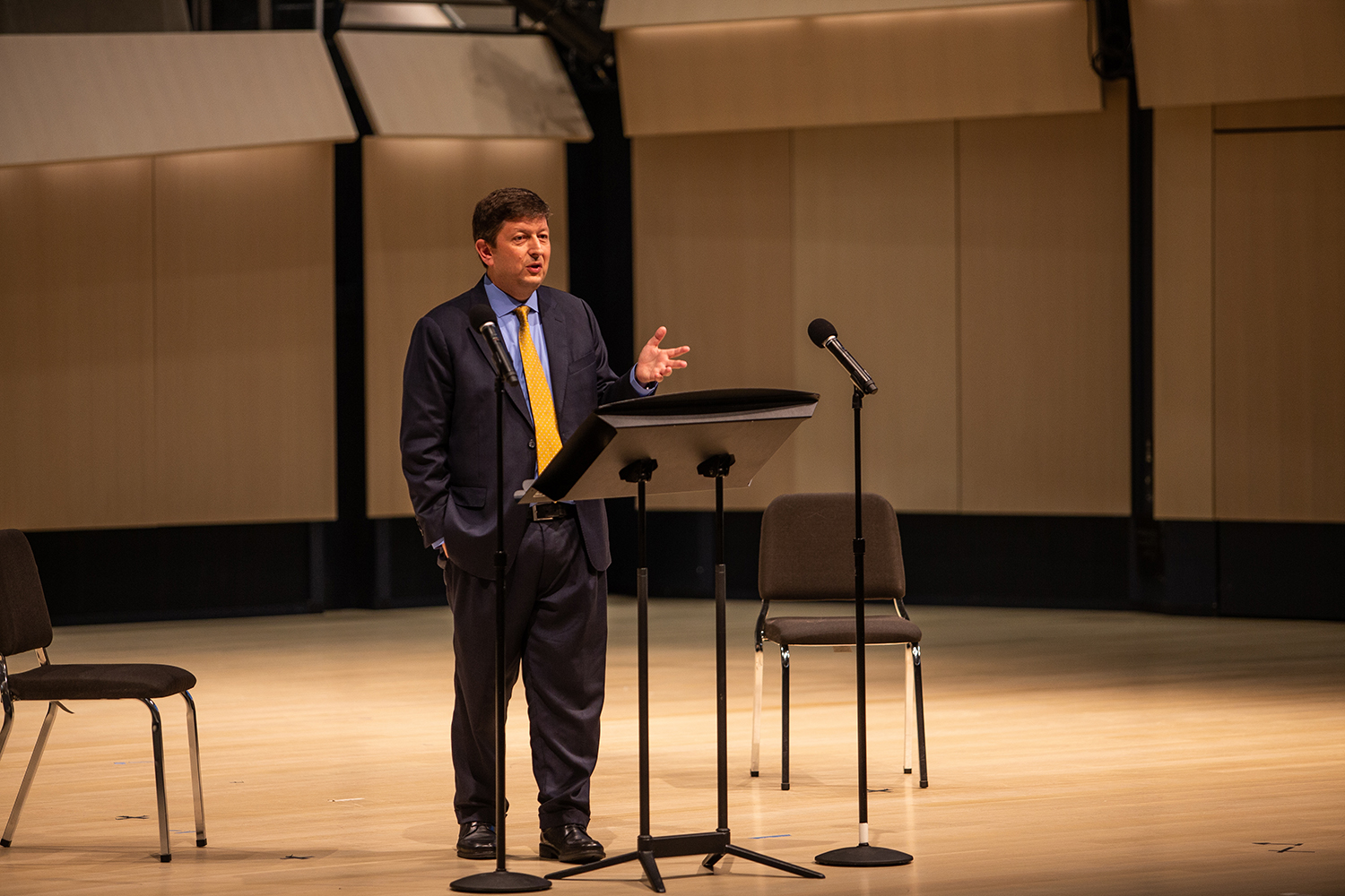 Sacha E. Kopp speaks during a forum as one of four candidates for the University of Iowa's Dean of the College of Liberal Arts and Sciences at Voxman Concert Hall on Monday, October 15, 2018. Previously, Kopp has served as the Dean of the College of Arts and Sciences at Stony Brook University and the Associate Dean for Undergraduate Education of the College of Natural Sciences for the University of Texas at Austin.